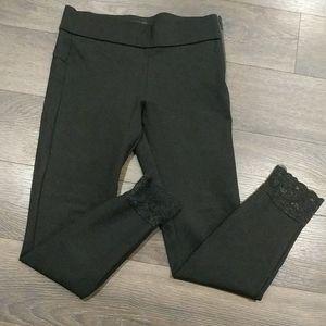 Zara black stretch dressy leggings w lace trim